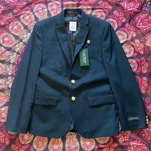 NWT Ralph Lauren Navy Blazer Gold Button Suit New